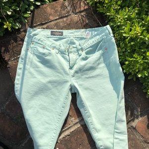 Mint green J Crew Toothpick jeans size 29